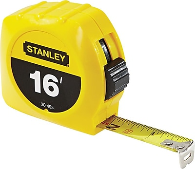 Stanley® Polymer Coated Single Side Measuring Tape, 16 ft (L) x 3/4 in (W) Blade, Inch