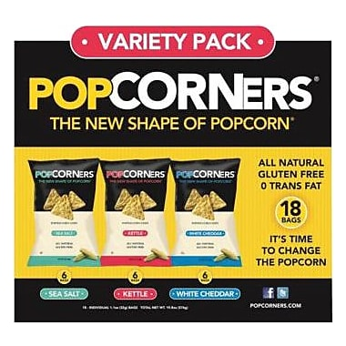 Popcorners® Popped Corn Chips Variety Pack, 1.1 oz Bags, 18 Bags/Box