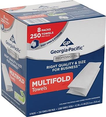 GP Georgia-Pacific Professional Series™ M-Fold Paper Towels, 1-Ply, White, Convenient Size, 8 Packs/Case