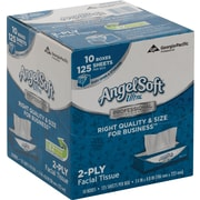 Angel Soft Ultra Professional Series Facial Tissue, 2-Ply, White Premium, Flat Box, 125 Sheets/Box, 10 Boxes/Case (4836014)