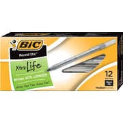 BIC® Round Stic® Ballpoint Pens, Medium Point, Black, Dozen