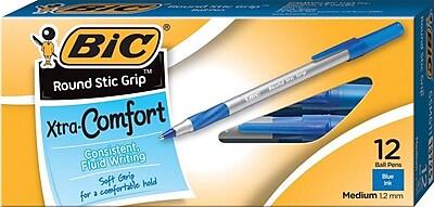 BIC® Xtra Comfort Round Stic Grip Ballpoint Pens, Medium Point, Blue, Dozen
