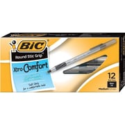BIC® Xtra Comfort Round Stic® Grip Ballpoint Pens, Medium Point, Black, Dozen
