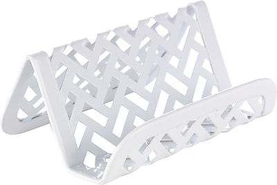 Staples® White Zigzag Business Card Holder