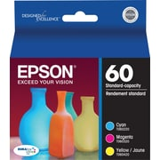 Epson 60 Color C/M/Y Ink Cartridges, (T060520-S), Combo 3/Pack