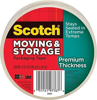 Scotch® Moving & Storage Packaging Tape, Clear, 1.88