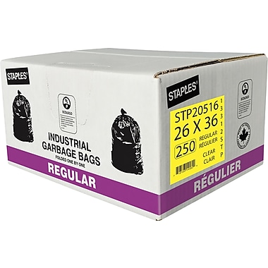 Staples Garbage Bags, Regular, Clear, 26