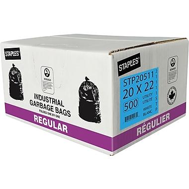 Staples – Sacs à ordures, tout usage, blanc, 20 x 22 po, 500/pqt