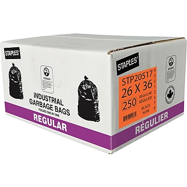 Staples Garbage Bags, Regular, Black, 26
