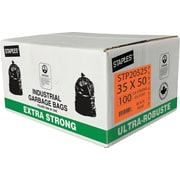 "Staples Garbage Bags, Extra Strong, Black, 35"" x 50"", 100-Pack"