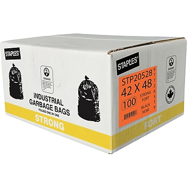 Staples Garbage Bags, Strong, Black, 42