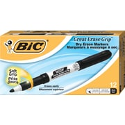 BIC® Great Erase® Grip Dry-Erase Whiteboard Marker, Fine Tip, Black, 12/Pack