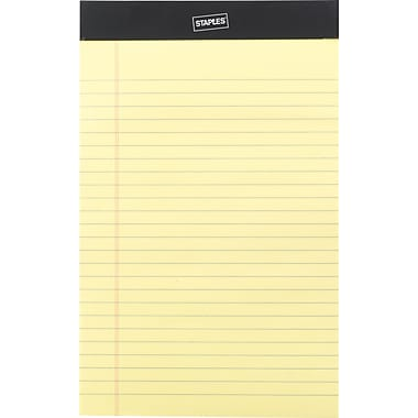 """Staples® Perforated Legal Pad, Junior Size 5"""" x 8"""", Narrow Ruled, Canary, 12/Pack"""