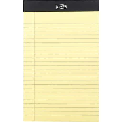 """Staples Notepads, 5"""" x 8"""", Narrow, Canary, 50 Sheets/Pad, 12 Pads/Pack (26829)"""
