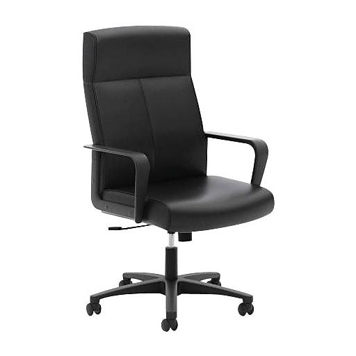 HON Validate High-Back Executive Chair, Center-Tilt, Fixed Arms, Black SofThread Leather (VL604SB11.COM)