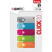 EMTEC 8GB Click USB Flash Drive, 5-Pack