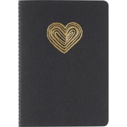 "Paperchase Black Heart Mini Journal, Ruled, 5.75""x4"""