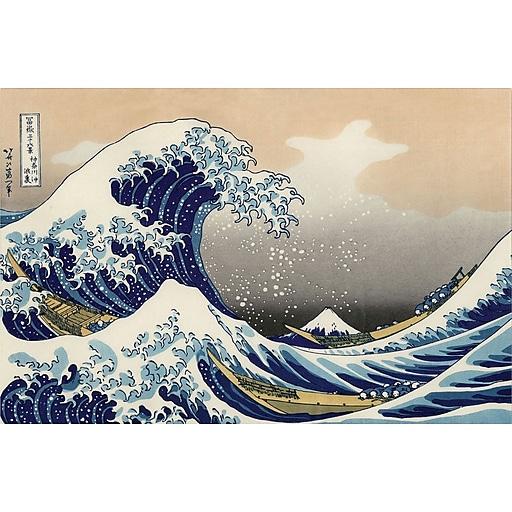 "Trademark Global Katsushika Hokusai ""The Great Kanagawa Wave"" Canvas Art, 30"" x 47"""