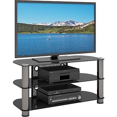 Sonax™ - Support pour téléviseur de 42 po de la collection New York, métal et verre, gris métallique