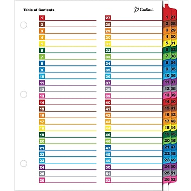 Cardinal® OneStep® Printable Table of Contents Dividers, 52 Tab, Multicolour