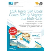 Roam 4G LTE Sim Card, 2/Pack