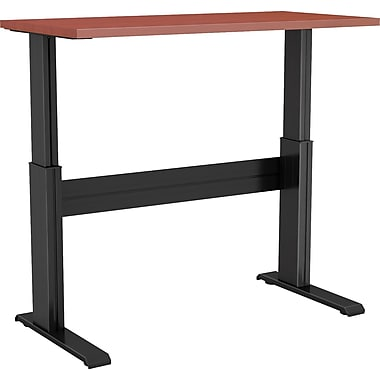 Right Angle 24'' Standard Sit & Stand Desk, Silver/Cherry (NLTAAS246024SC)