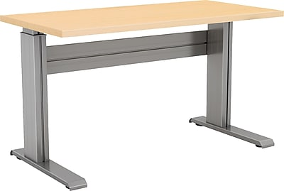 Right Angle 48'' Standard Sit & Stand Desk, Black/Maple (NLTAAS304830BH)