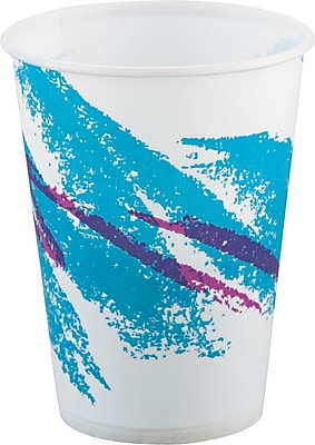 SOLO Cup Company Jazz Waxed Paper Cold Cups, 9 oz, Tide, Wax-Coated Paper, 2000/Carton (SCC R9NJ) SCCR9NJ