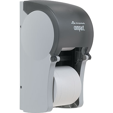 Georgia Pacific® Professional Compact® Vertical Double Roll Coreless Tissue Dispenser, Plastic, Translucent Smoke (56790)