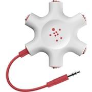 Belkin – Séparateur à 5 voies pour écouteurs de 3,5 mm RockStar, rouge
