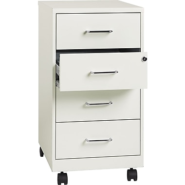 Hirsh Industries 4 Drawer Vertical File Cabinet, Mobile, White,  Letter/Legal,