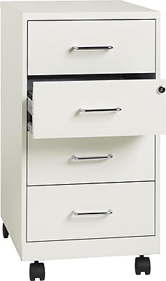 Hirsh Industries 4 Drawer Vertical File Cabinet, Mobile, White, Letter/Legal, 18''D (19537)