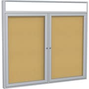 """Ghent 2-Door Enclosed Bulletin Board with Headliners, 48""""W x 36""""H"""