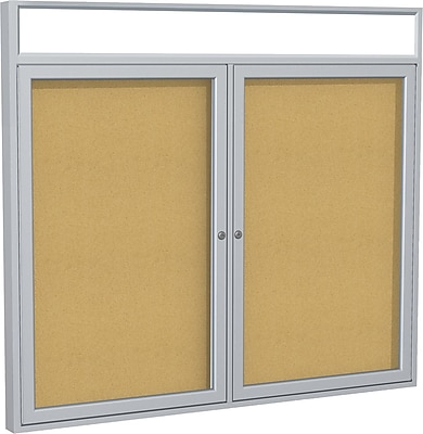 "Ghent 2-Door Enclosed Bulletin Board with Headliners, 48""W x 36""H"