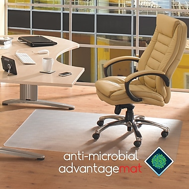 Floortex Anti-Microbial Chairmat, Hard-floor, Rectangle 48