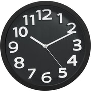 "TEMPUS Wall Clock, with Raised Numerals and Silent Sweep Black Dial, Plastic 13""(TC62127B)"