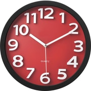Victory Light Raised Numerals Silent Sweep Red Dial Wall Clock (TC62127R)