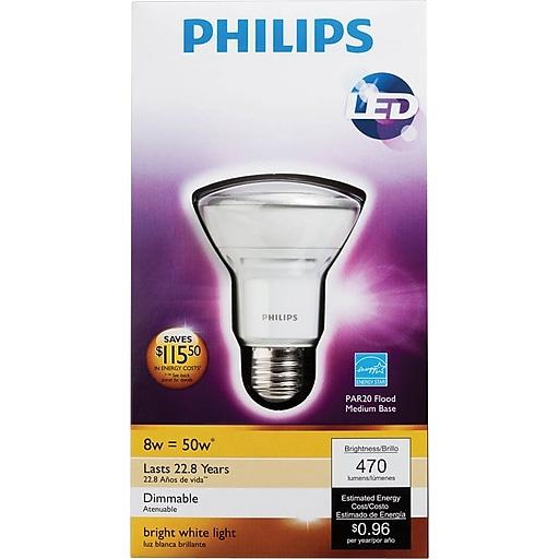 Philips 8 Watt Par20 Led Flood Light Bulb Bright White Dimmable