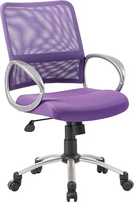 Boss Mesh Executive Office Chair, Adjustable Arms, Purple (B6416-PR)
