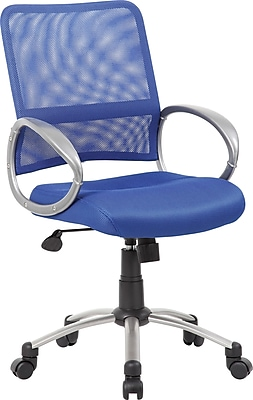 Boss Mesh Executive Office Chair, Adjustable Arms, Blue (B6416-BE)
