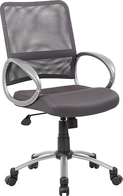 Boss Mesh Executive Office Chair, Adjustable Arms, Gray/Silver (B6416-CG)