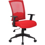 Boss Mesh Executive Office Chair, Adjustable Arms, Red (B6706-RD)