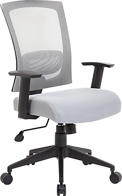 Boss Mesh Executive Office Chair, Adjustable Arms, Gray/Silver (B6706-GY)
