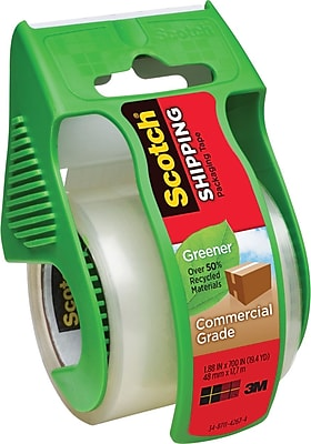 Scotch Greener Commercial Grade Shipping Tape with Dispenser, 1.88