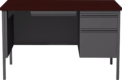 Staples Single Pedestal Desk 30x48 Right Hand Charcoal/Mahogany