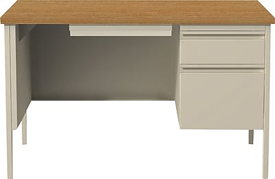 Staples Single Pedestal Desk 30x48 Right Hand Putty/Oak