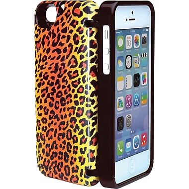 EYN Smartphone Case for iPhone 5/5S with Hinged Storage Back, Leopard