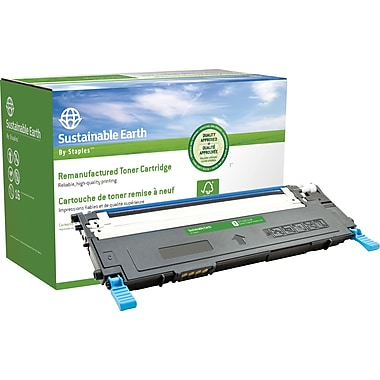 Sustainable Earth by Staples Remanufactured Cyan Toner Cartridge, Samsung CLT-C409S (SEBCLP315CRDS)