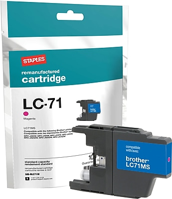Staples® Remanufactured Inkjet Cartridge, Brother LC71 (LC-71M), Magenta