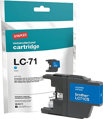 Staples® Remanufactured Inkjet Cartridge, Brother LC71 (LC-71C), Cyan